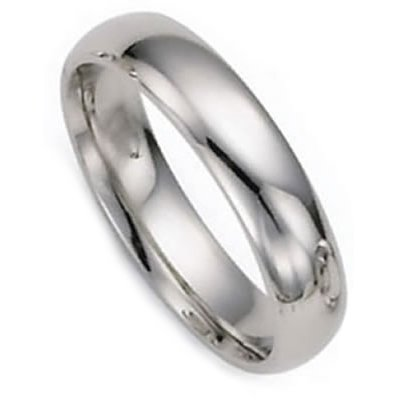 4.0 Millimeters White Gold Heavy Wedding Band Ring 14Kt Gold, Plain Comfort Fit Style PIR04, Finger Size 5¼