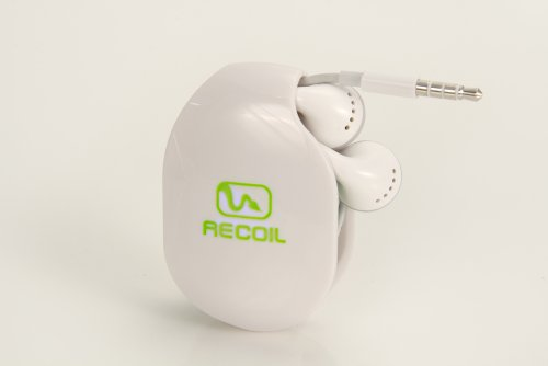 Recoil Automatic Cord Winder For Headphones And Earbuds. No More Tangled Headphones! The Original Retactable Cord Organizer. White, Size Small