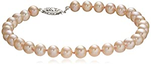 14k White Gold 5-6 mm Rose Freshwater Cultured AA-Quality Pearl Bracelet, 7.25""