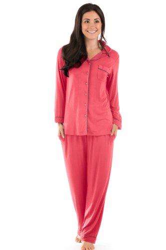 Womens Classic Pajamas Bamboo Jersey Cool Christmas Gifts For Women Mom Her 0091-Cr-S front-607525