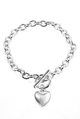 Silver Plated Graduated T-Bar Heart Bracelet