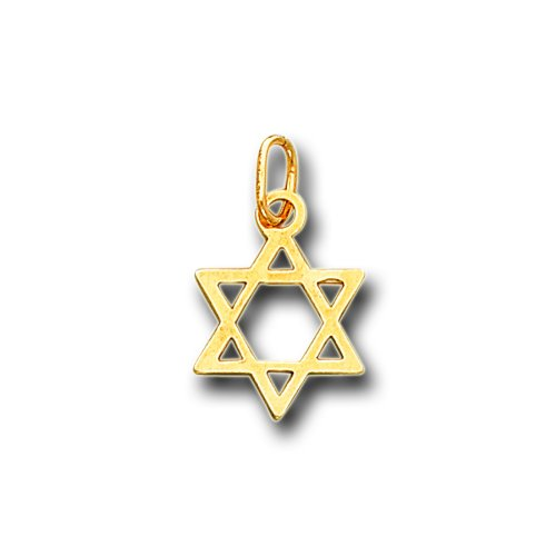 14K Solid Yellow Gold Small King David Star Charm Pendant