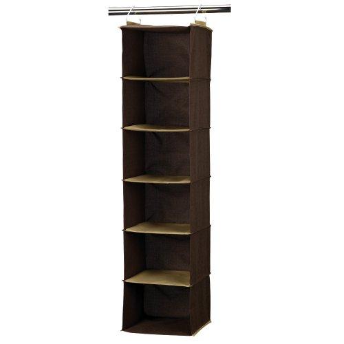 Household Essentials 6-Shelf Hanging Closet Organizer, Coffee Linen