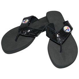 For Bare Feet Pittsburgh Steelers Women's Sequin Flip Flops