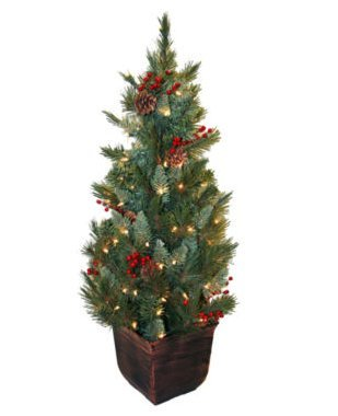 4' Pre-Lit Potted Christmas Tree - Indoor or outdoor holiday decor - Clear lights - Home furniture - 2-years manufacturer's warranty