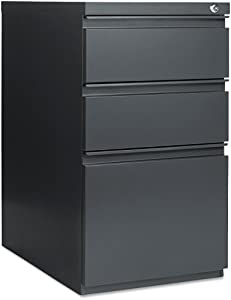 Alera PB532823CH Three-Drawer Mobile Ped File w/Full-Length Pull, 15w x23d, Charcoal