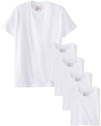 Hanes Comfort Soft Crew Neck 5 Pack Tee, White, Medium