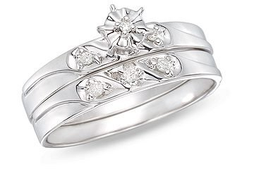 14k White Gold 0.06 CT TDW Diamond Bridal Set Ring (G-H, I1-I2)