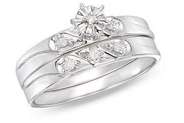 14k White Gold 0.06 CT TDW Diamond Bridal Set Ring (G-H, I1-I2)