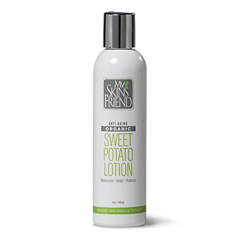 Hand Crafted Organic Sweet Potato Body Lotion for Women and Men - Made from REAL Organic Sweet Potatoes - CHEMICAL-FREE. Naturally rich in Vitamin A and beta carotene - long known for having almost MAGICAL Skin HEALING properties. You'll Love How Quickly It Disappears Into Your Skin. That's Because It Gets Into Your skin Instead of Just Sitting on Top Like Oily Lotions. Without question the best value for your investment. Love it or we'll buy it back. 8 oz.