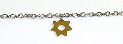 Anklets - Pierced & Modified Body Jewellery - Stainless Steel Ankle Bracelet - 23cm Length - 3mm Chain - Star Charm