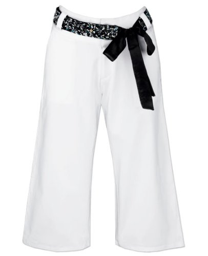 Buy White Cotton Sateen Capris