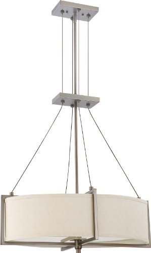 Nuvo Lighting 60/4455 Four Light Portia Oval Pendant with Khaki Fabric Shade/Cream Diffuser, Hazel Bronze