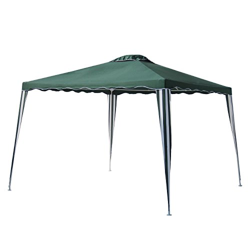 Green Color Canopies : Aleko iron foldable pe gazebo canopy for outdoor