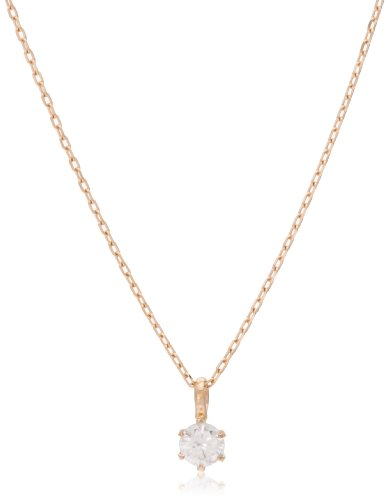 Dee collection D-COLLECTION K18 pink gold diamond necklace 0.1 ct classic simple diamond in 18kt pink gold / private BOX Magzine DS20095PG