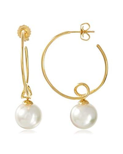 Majorica White Pearl Drop Twisted Hoop Earrings