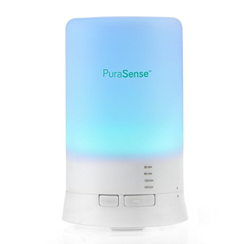 PuraSense Essential Oil Diffuser - Aromatherapy Humidifier - Ultra Quiet - Compact Design - Ionizer with Color Changing Lights