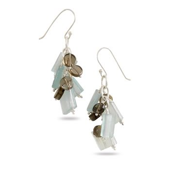 French Wire Earrings with Ancient Roman Glass and Smoky Quartz Cluster Drop