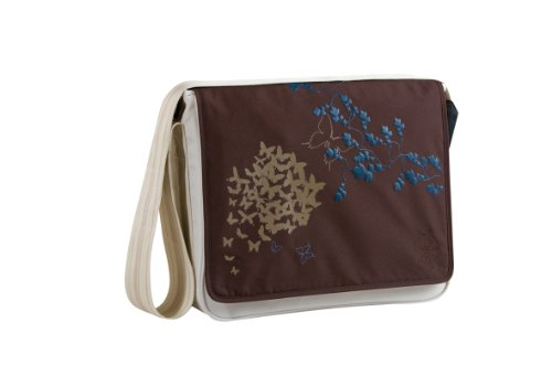 Lassig Casual Messenger Diaper Bag, Butterfly Choco