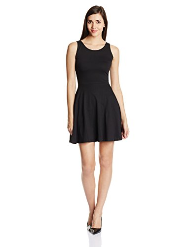 Miss Chase Women's Cotton Skater Dress (MCS14D01-28-62_Black_X-Large)