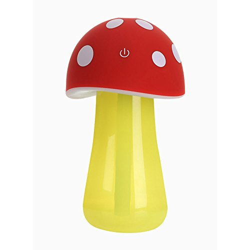 AmiCool 200ml Mushroom Mini USB Humidifier Purifier with LED Light for Office Home Car travel(Red) (Small Cute Humidifier compare prices)
