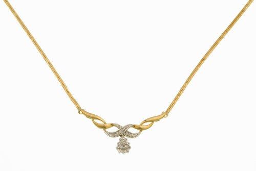 Ladies' diamond Necklace, 9ct Yellow Gold Herringbone Chain, 43cm Length, Model DP715