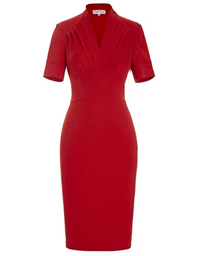 Office Lady Wiggle Dress V-neck Ruched Bodice Pencil Dress BP106 Red(M)