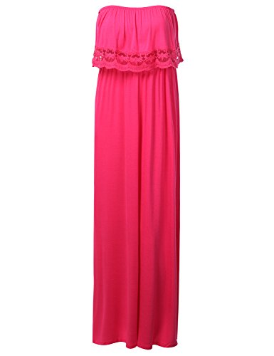 J.Tomson Womens Lace Detail Jersey Tube Maxi Dress Fuchsia Small