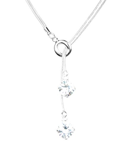 925 Sterling Silver Toned Twin Crystals Lariat Necklace
