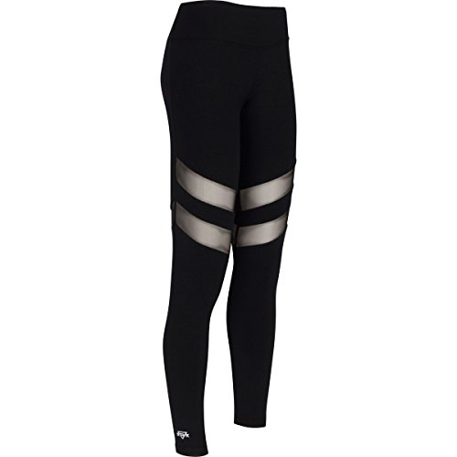 STRYK Women's Premium Mesh Active Yoga Gym Crossfit Leggings (Medium, Black)