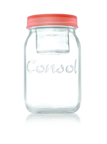 Jar in a Jar - 2 in 1 Classic Glass Mason Jar Fitted with A Smaller Jar Inside Under One Leak Proof Lid Perfect for Storage & Food On The Go - By Consol (34oz, Red) (Leak Proof Glass Jar compare prices)