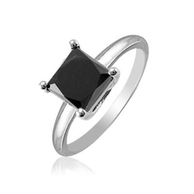 00 Ct Princess cut Black Diamond Engagement Ring 925 Sterling Silver ...