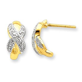 Sterling Silver Vermeil Diamond Accent Post Earrings - JewelryWeb