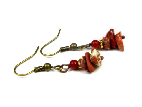 Red Jasper Gemstone Chip Dangle Earrings, Accented With An African White Heart Bead