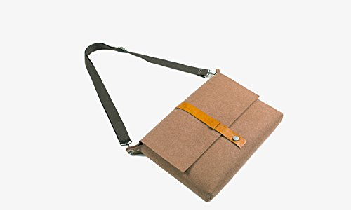Woolシリーズ 全3色 新しいMacBookケース/The New Macbookカバー/新型macbook 12インチRetinaディスプレイ対応天然ウールフェルトショルダーバッグ 小物収納ポケット付 おしゃれ スタイリッシュな収納レザーバッグ (The New MacBook(2015), コーヒー)