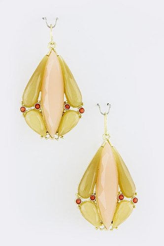 Karmas Canvas Acrylic Droplet Earrings (Peach) front-1060761