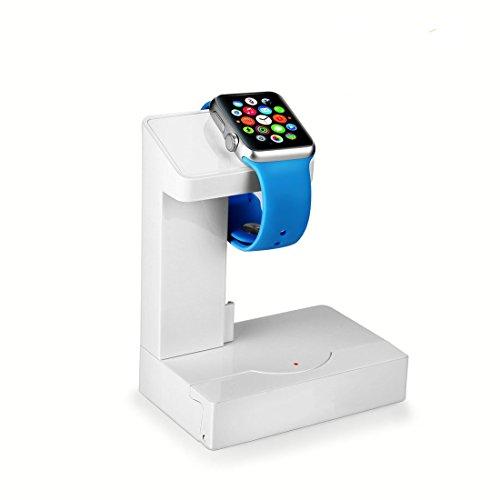 Abusun 5in1多機能スタンド Apple Watch充電スタンド モバイルバッテリー 配線ダクト USBチャージャー スマホスタンド iPhone/iPod/Samsung galaxy s6/Androidなどスマホに対応  (ホワイト)