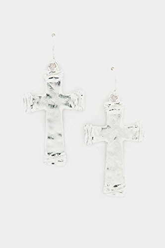 Trendy Fashion Jewelry Dent Cross Earring By Fashion Destination | (Burnished Silver)