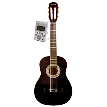 Music Basics Classical Left Handed Guitar with Free Tuner - 1/2 Size (GC-115-1/2) - Black