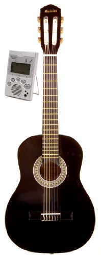Music Basics Classical Left Handed Guitar with Free Tuner - 1/4 Size (GC-115-1/4) - Black