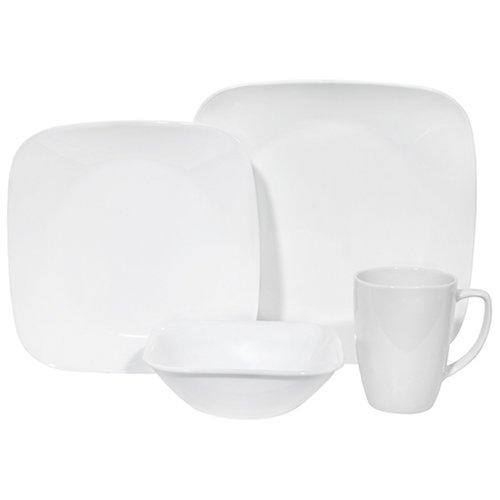 Corelle Square Dinnerware Set (Serves 4) 16pc, Pure White