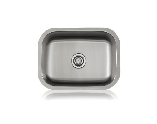 Lenova SS-CL-S4 18-Gauge Stainless Steel Classic Single Bowl Undermount Kitchen Sink, Medium