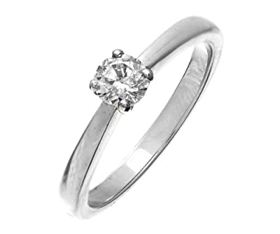 Certified Stylish 18 ct White Gold Ladies Solitaire Engagement Diamond Ring Brilliant Cut 0.33 Carat IJ-I1