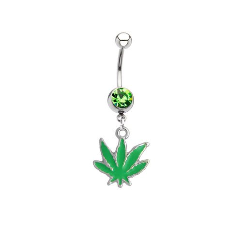 Belly Ring Pot Leaf Dangle Navel Ring with Green Pot Leaf 14G Belly Piercing + 1 Free Belly Retainer