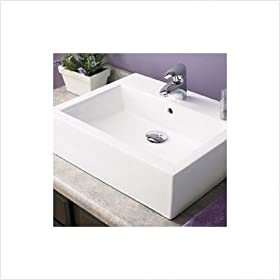 "Classically Redefined 22.5""x17.75"" Rectangular Ceramic Vessel Sink with Overflow"