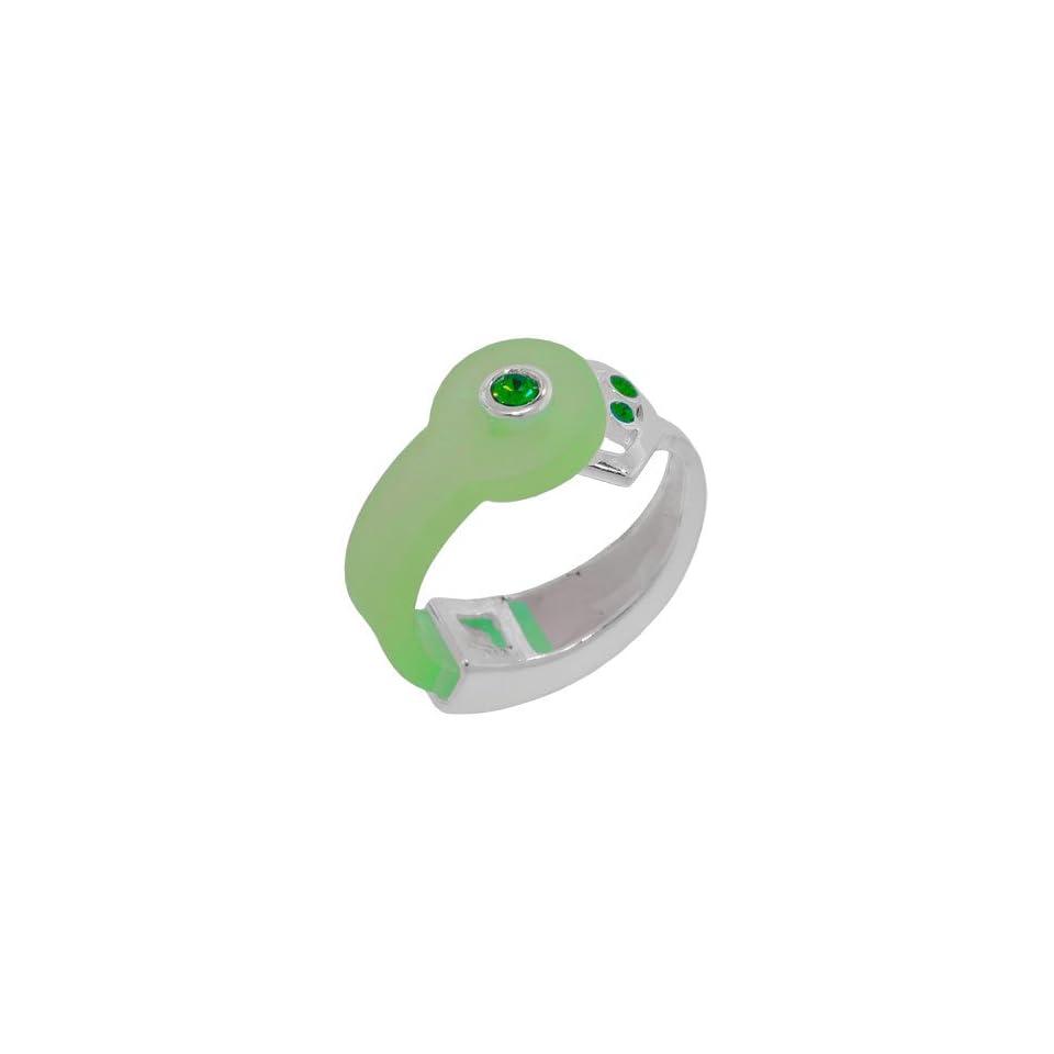Green Sparkle Bioplast Silver Heart Ring