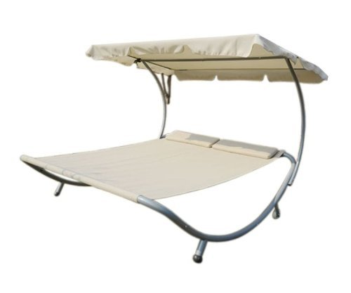 outsunny double wide patio pool hammock bed lounger with sun shade off white the lawn garden. Black Bedroom Furniture Sets. Home Design Ideas