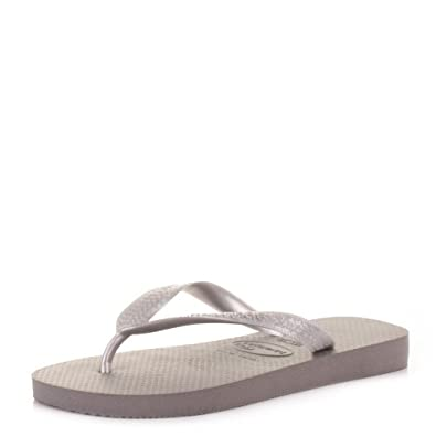 Havaianas Top Metallic Grey Silver Flip Flops SIZE 8 BRA 41/42