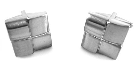 Kenneth Cole Reaction Windy Silver Squares Cufflinks