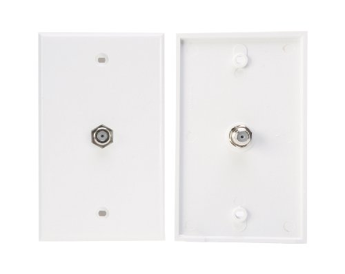 Leviton C5256-WGO Smooth Flush Mount Wallplate, Provides 75-Ohm Gold Connector For Coaxial Cable Hookup To TV Or VCR, Color White